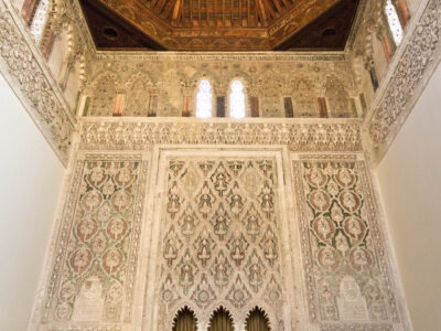 Toledo, Spain – September 5, 2015: Interior of the Synagogue of El Transito, famous for its rich stucco decoration